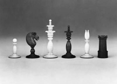 A Victorian ivory chess set in
