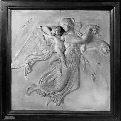 A pair of plaster relief plaqu