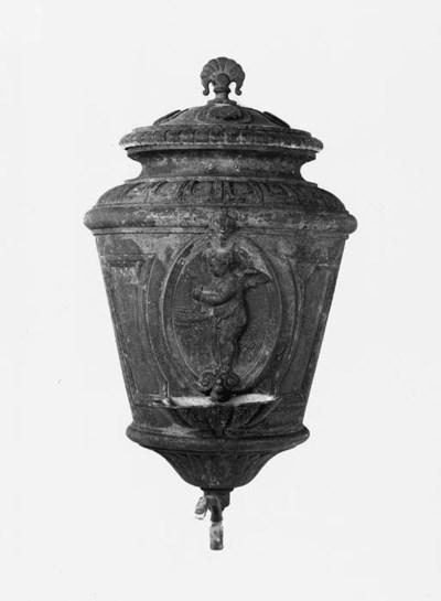 A French cast iron wall founta