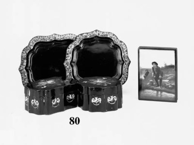 Two lacquer boxes and trays, l