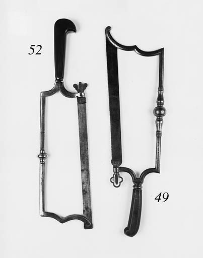 An 18th-Century burnished-iron framed amputation saw,
