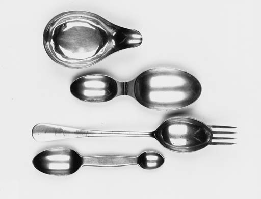 A silver spoon and fork combination,