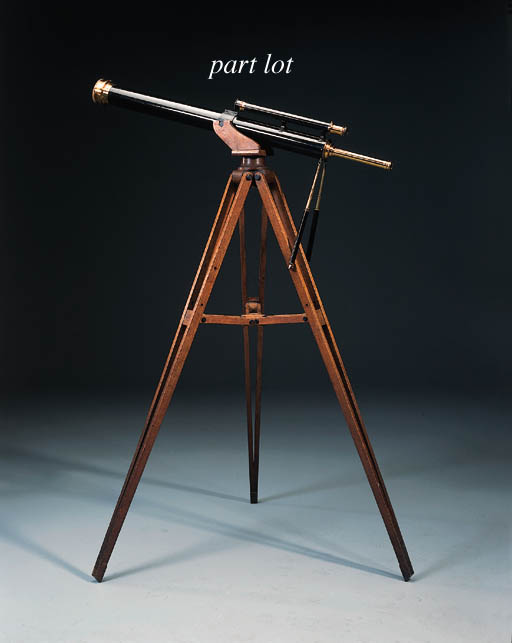 A black-enamelled and lacquered-brass 3¼-inch astronomical telescope,