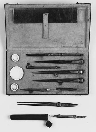 A continental brass and steel drawing set,