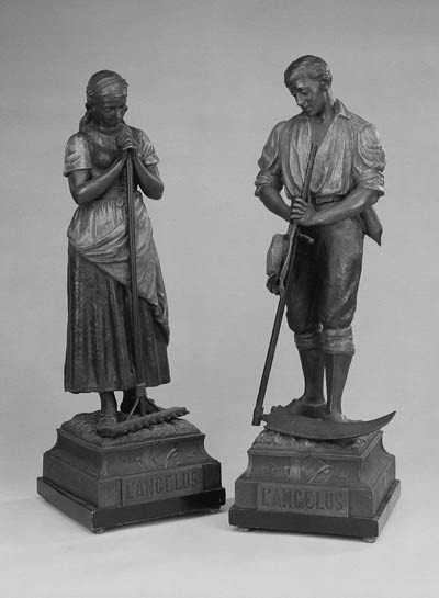 A PAIR OF POLYCHROME SPELTER F