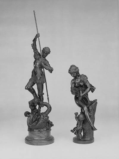 A French bronze group of a dan