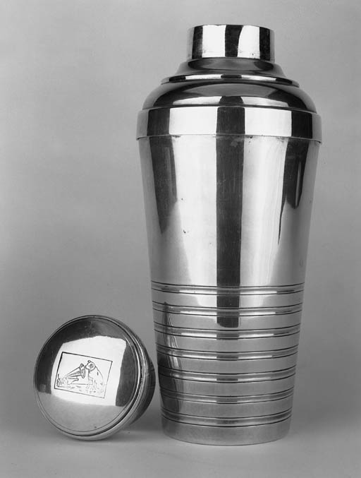 A silver-plated cocktail shake