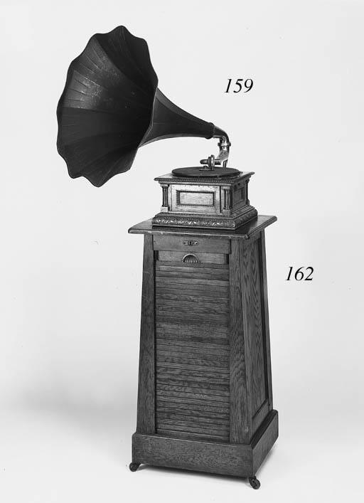 An oak gramophone pedestal