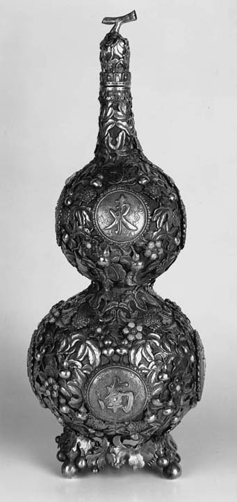A CHINESE SILVER MOUNTED DOUBL