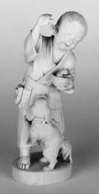 A JAPANESE IVORY OKIMONO OF A