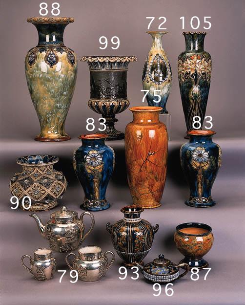 A Lambeth Natural Foliage Ware vase