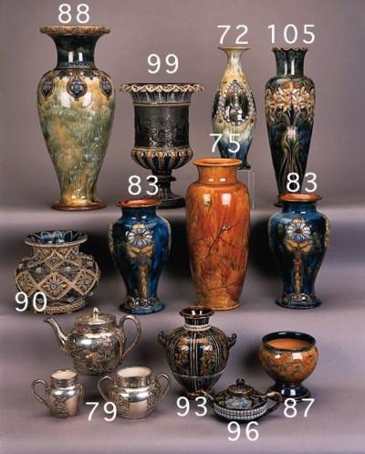 A Lambeth stoneware teapot