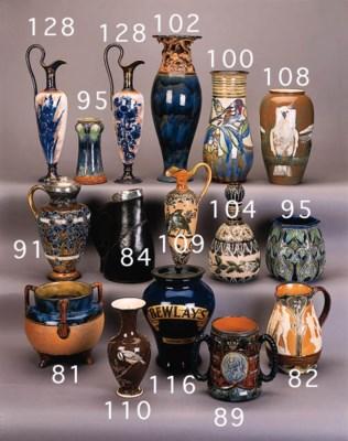 A stoneware baluster vase