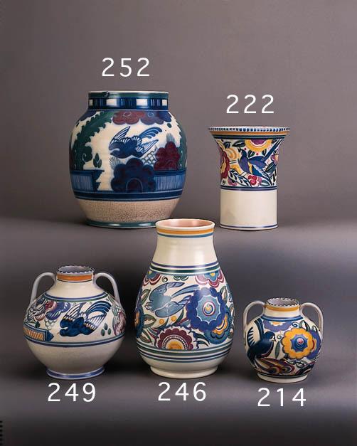 A flaring cylindrical vase