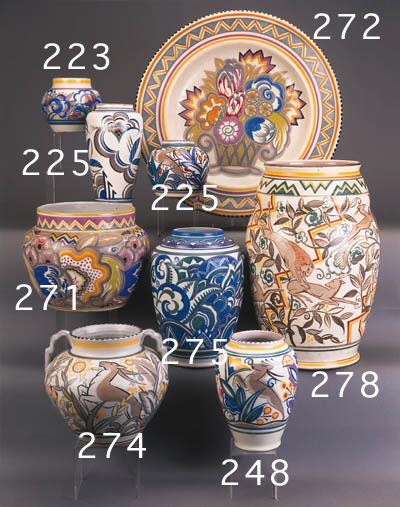 A Carter, Stabler, Adams twin-handled ovoid vase