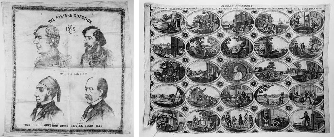 """The Eastern Question 1878"", a white cotton puzzle handkerchief printed in black with portraits of Gortschakoff, Andrassy, Suavi Pacha and Bismark, which when folded reveal a portrait of Benjamin Disraeli--22 x 23in. (55 x 58cm.); and another, ""Moral Pictures... By the late Dr. Benj. Franklin"", monochrome printed in red with 24 scenes, the centre with a portrait of Franklin--24 x 17in. (60 x 43cm.), circa 1820, some damage"