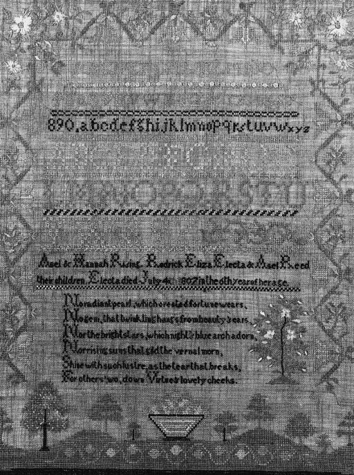 """A sampler in memory of Electa Reed 1807 embroidered in silks mainly in cross stitch with Algerian eye and other stitches, in shades of blue, green, yellow, ivory and brown, the central field with alphabets and numerals with the verse """"No radiant pearl..."""" below, the bottom border with a hillocky ground with stylised trees and a central flower filled basket, within a three sided stylised floral border with naturalistic floral sprays in the upper corners--21¾ x 26½in. (54 x 66cm.), framed and glazed, probably American"""