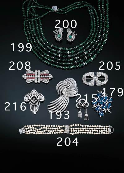 An emerald bead and diamond ne
