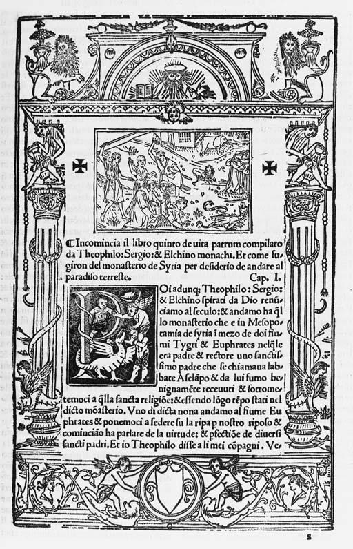 Vita di sancti padri vulgare historiata, [Venice: Bartholomeo de Zanni, 24. November 1512].