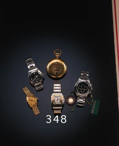 Cartier, a gentleman's steel and gold quartz calendar wristwatch, Model: Santos, recent,