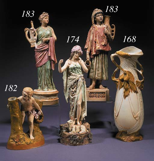 Two Royal Dux pottery figures
