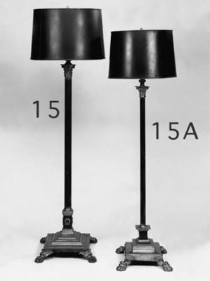 A part-patinated brass standar