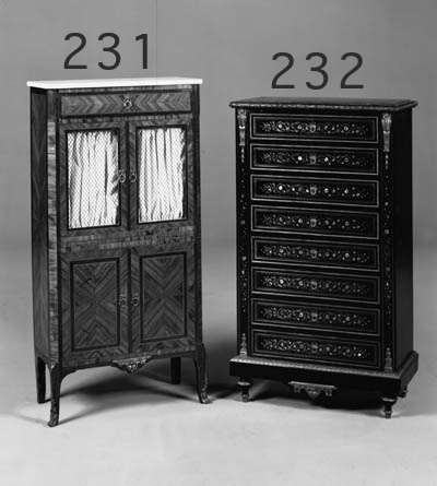 A FRENCH EBONISED BRASS-INLAID AND GILT-METAL MOUNTED SECRETAIRE A ABATTANT, LATE 19TH CENTURY