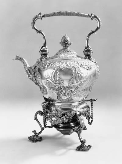 A modern tea kettle on stand
