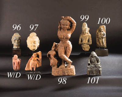 A GANDHARAN STUCCO HEAD OF BUDDHA