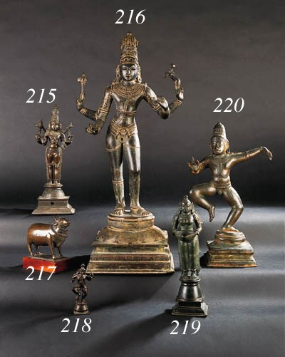 A SOUTH-INDIAN BRONZE OIL LAMP