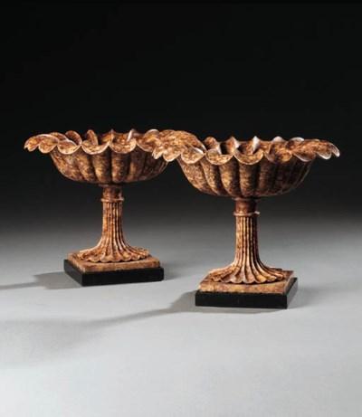 A pair of marmo brocatello taz