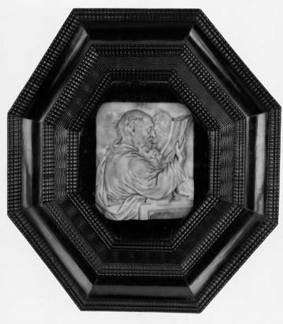 A Continental wax portrait rel