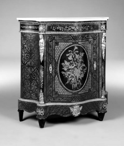 A walnut, floral marquetry and