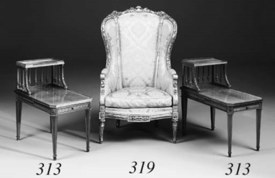 A carved giltwood bergere, lat