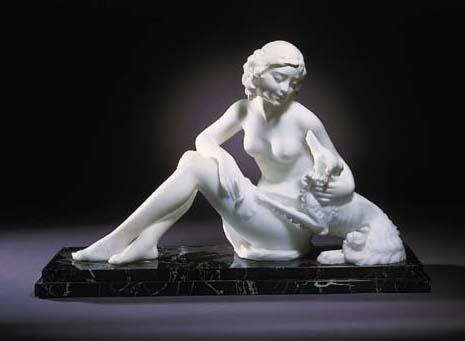 A alabaster figure group