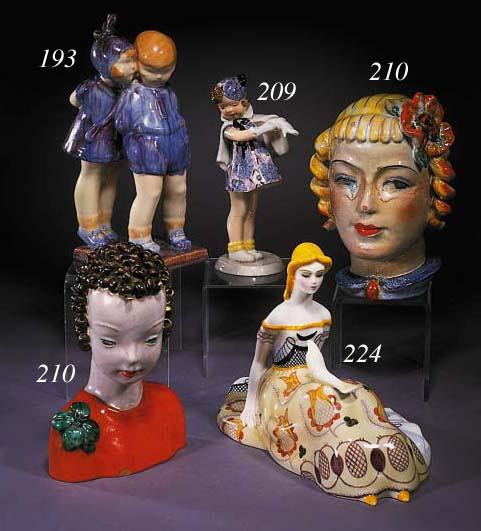 A Lenci polychrome pottery fig