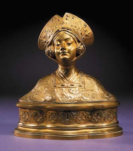 A gilt bronze box and cover