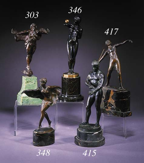 An Art Deco patinated bronze f