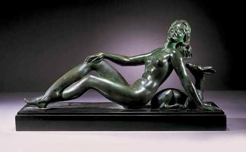 An Art Deco green patinated br