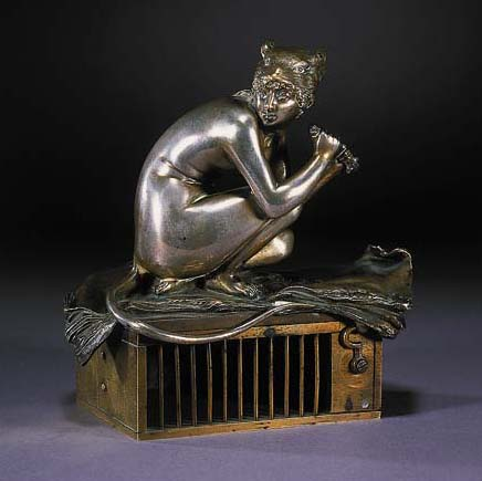A silvered and gilt bronze fig