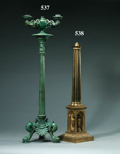 An Early Victorian gilt bronze oil lamp base
