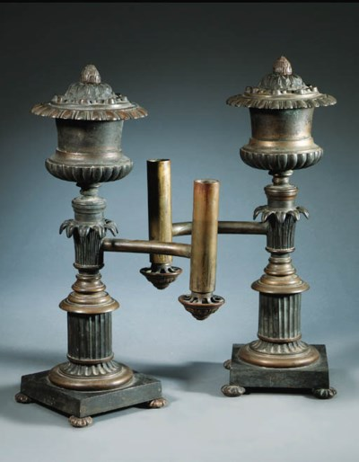 A pair of English brass colza