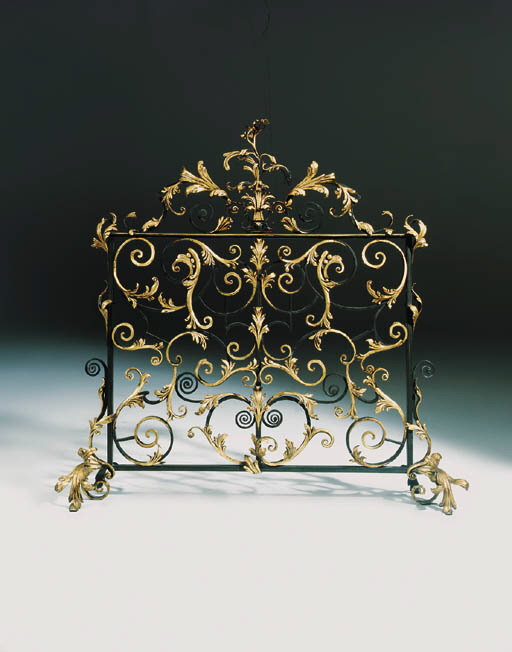 A French wrought iron fire screen