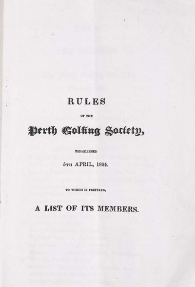 RULES OF THE PERTH GOLFING SOC
