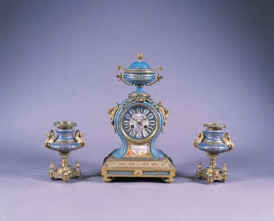A FRENCH GILT-BRASS AND SÈVRES