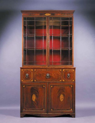 A REGENCY MAHOGANY AND BOXWOOD
