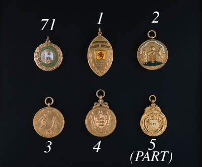 A 9ct gold and enamel medal, t