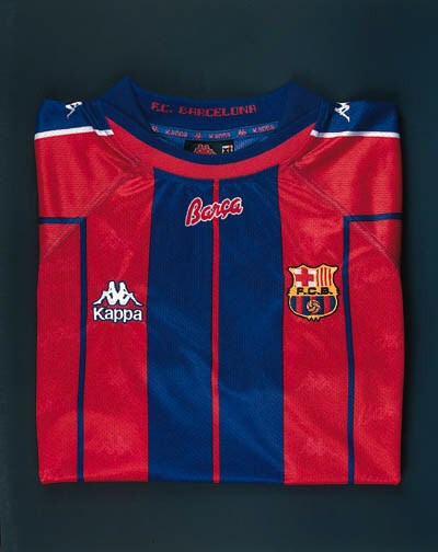 A red, blue and white F.C.Barc