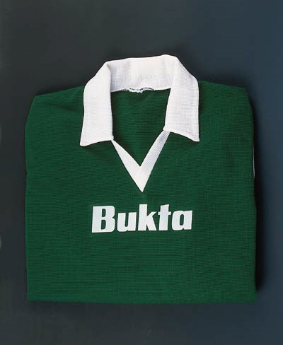 A green and white Hibs shirt,