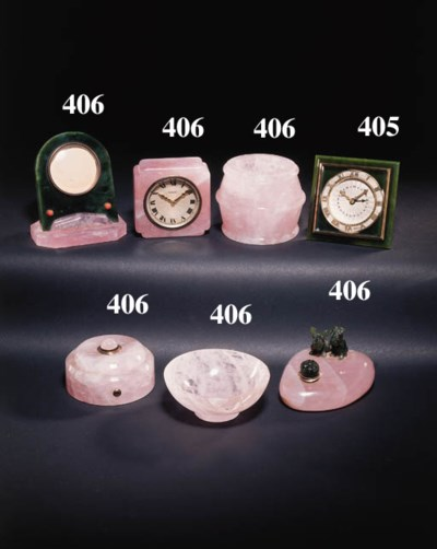 A NEPHRITE AND ENAMEL ALARM CL